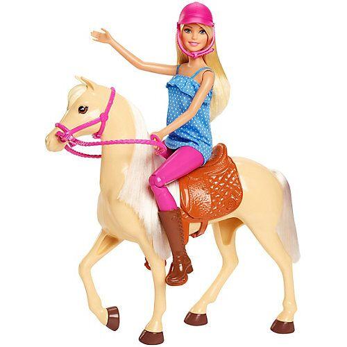 Mattel Barbie® Pferd mit Puppe (blond), Anziehpuppe, Modepuppe, Pferde Spielzeug
