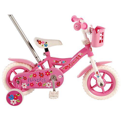 Volare Yipeeh Flowerie Kinderfahrrad - Mädchen - 10 Zoll - Pink / Weiß rosa