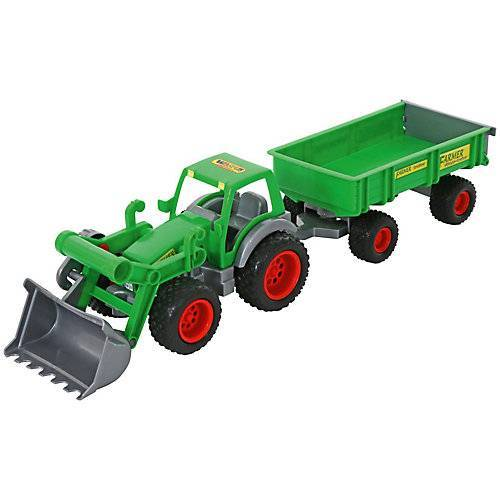 Wader Farmer Technic Traktor + Frontschaufel + 2-Achsanhänger