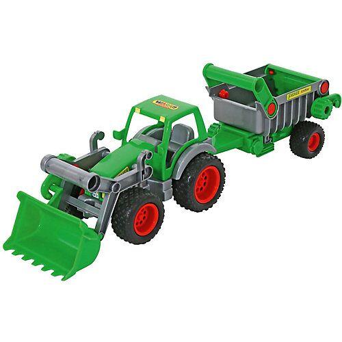 Wader Farmer Technic Traktor mit Frontschaufel + Kippanhänger