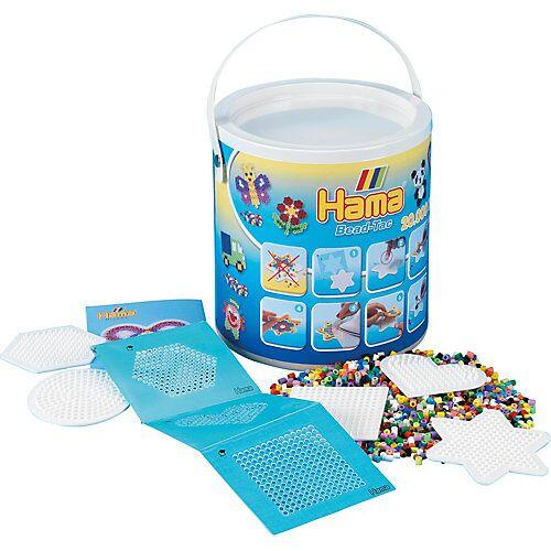 Hama Perlen HAMA 7701 Eimer mit 20.000 midi-Perlen, 5 Stiftplatten und Haftfolie