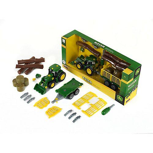 Klein John Deere Traktor mit Holz- und Heuwagen