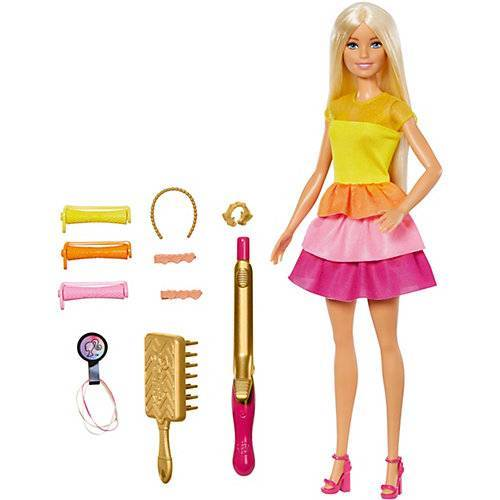 Mattel Barbie Locken-Style Puppe (blond), Anziehpuppe, Modepuppe, Barbie Frisuren
