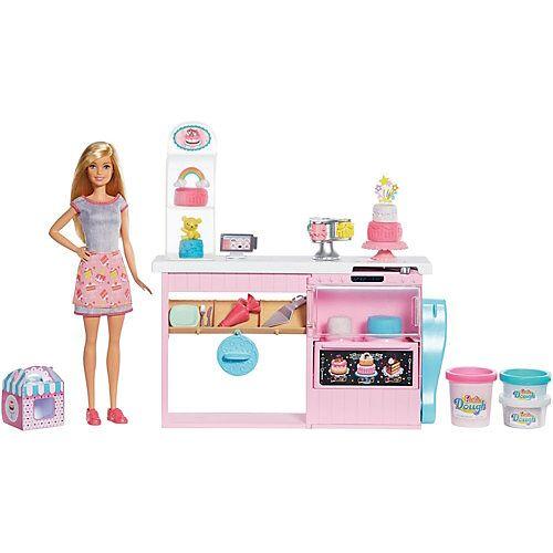 Mattel Barbie Tortenbäckerei Spielset mit Puppe (blond) und Knete, Barbie Bäckerin