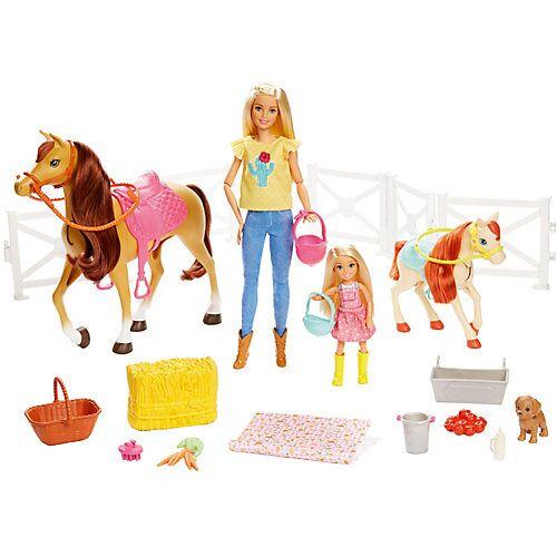 Mattel Barbie Reitspaß mit Barbie (blond), Chelsea, Pferd und Pony, Pferde Spielzeug