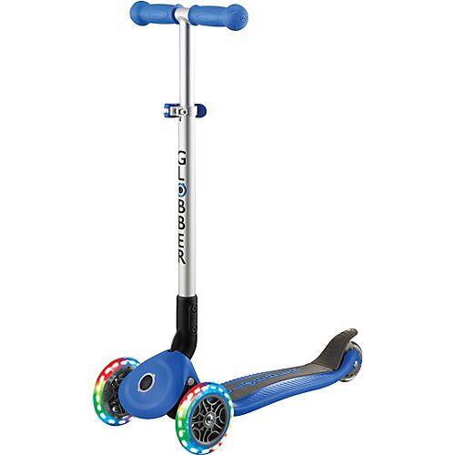 Globber Scooter PRIMO FOLDABLE, Leuchtrollen, navi-blau