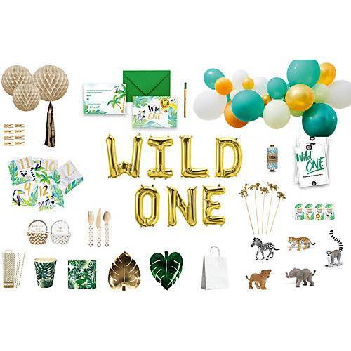 in a box® Wild One Party Box, Bis 10 Personen, mit 5 Tierfiguren als Gastgeschenke bunt