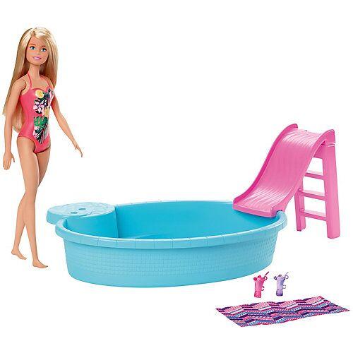 Mattel Barbie Pool Spielset mit Puppe (blond), Anziehpuppe, Barbie Möbel, Barbie Zubehör