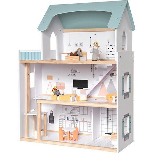 myToys Puppenhaus mit Möbel + 3 Biegepuppen