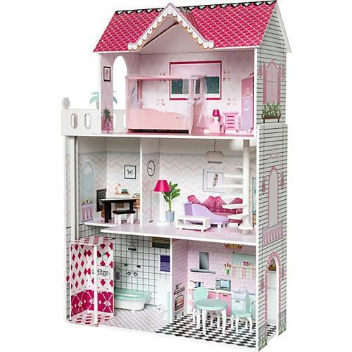 myToys Puppenhaus mit 13 Möbeln, pink