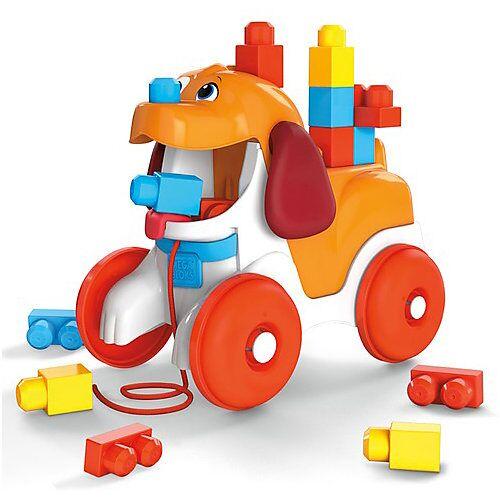 Mattel Mega Bloks Hündchen zum Hinterherziehen, Nachzieh-Spielzeug mit Bausteinen mehrfarbig