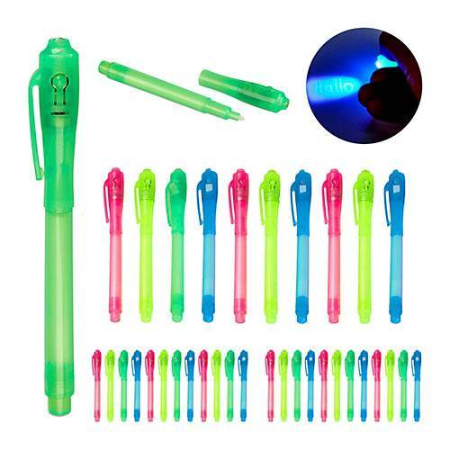 relaxdays 36 x UV-Stifte Geheimstifte UV Pen Zauberstifte UV-Licht Stifte Set Kinder bunt blau