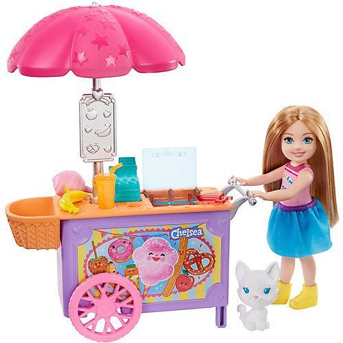Mattel Barbie Chelsea-Spielset mit Puppe und Imbisswagen, 15 cm große Puppe, blond, mit Tier und Zubehörteilen