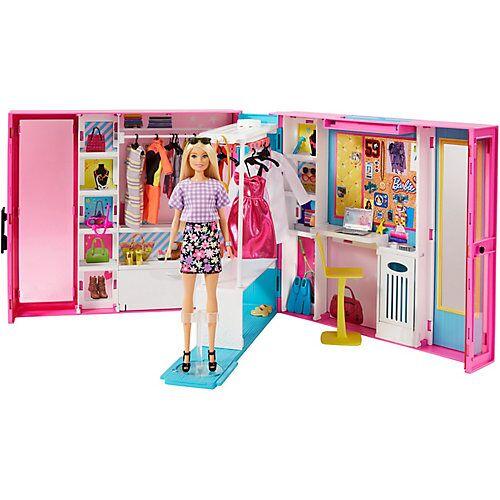 Mattel Barbie Traum Kleiderschrank ausklappbar mit Puppe, Zubehör und Puppen-Kleidung