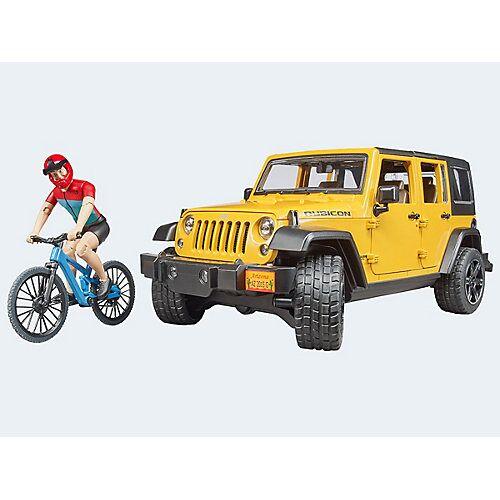 Bruder Jeep Wrangler Rubicon mit Mountainbike und Fahrer