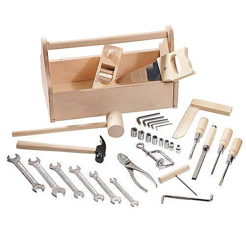howa Werkzeugkasten Holz mit Werkzeug natur