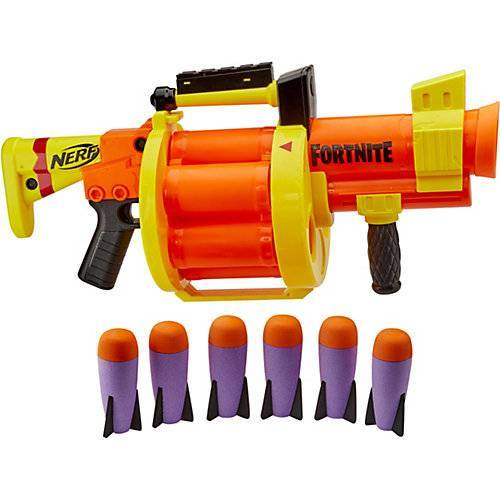 Hasbro Nerf Fortnite GL Raketen-Blaster – Trommel 6 Raketen, Pump-Action – enthält 6 Nerf Raketen weiß/beige  Kinder