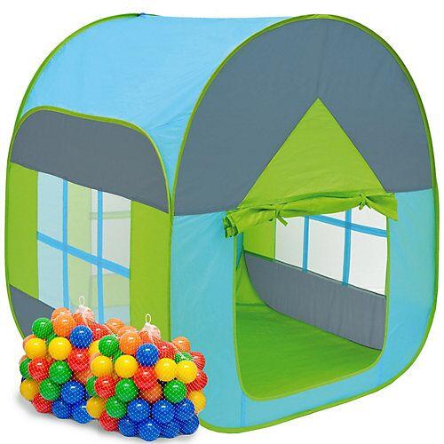 LittleTom Kinder Spielzelt mit 200 Bällebad Bällen - Kinderzelt Blau mehrfarbig