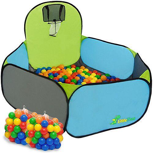 LittleTom Pop Up Bällebad mit 200 Bällen - Kinder Bällepool Blau mehrfarbig