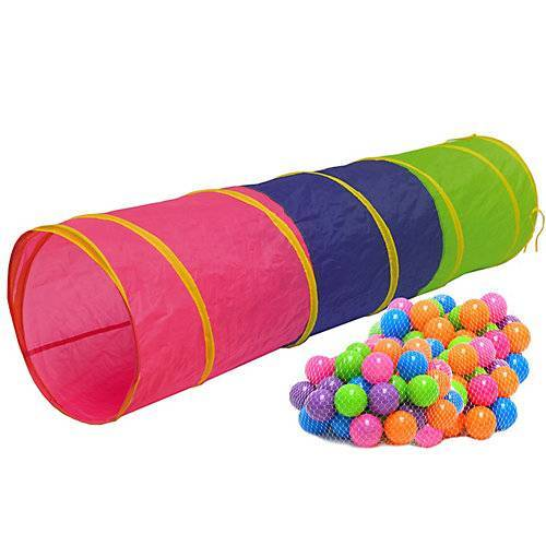 LittleTom Kinder Spieltunnel mit 200 Bällebad Bällen - 180cm Krabbeltunnel mehrfarbig