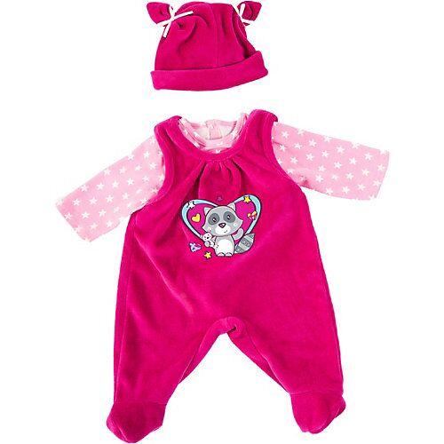 BAYER Kleider Puppen 40-46 cm: 3-tlg. - Latzhose, Oberteil, Mütze, rosa/pink  Kleinkinder