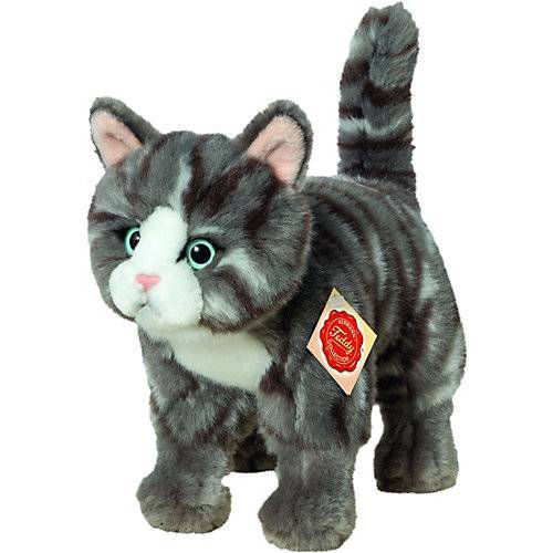 Teddy-Hermann Katze stehend grau getigert 20 cm