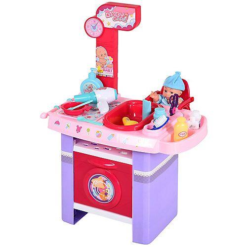 HOMCOM Puppenpflegecenter mit Badewanne rosa