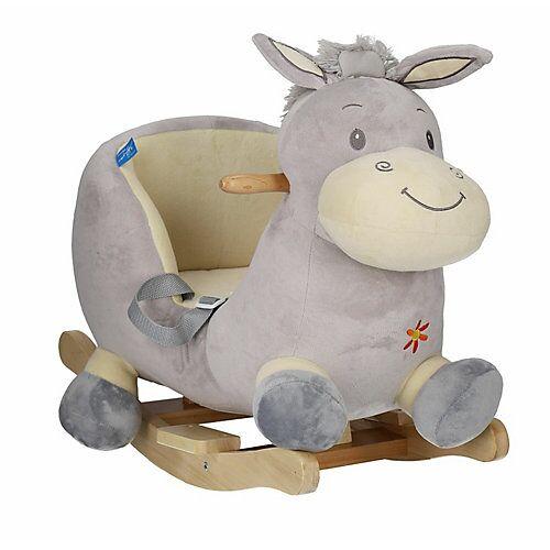 Schaukelpferd Plüsch Esel Schaukeltier 60 cm Baby Wippe Holz Spielzeug ab 9 M grau