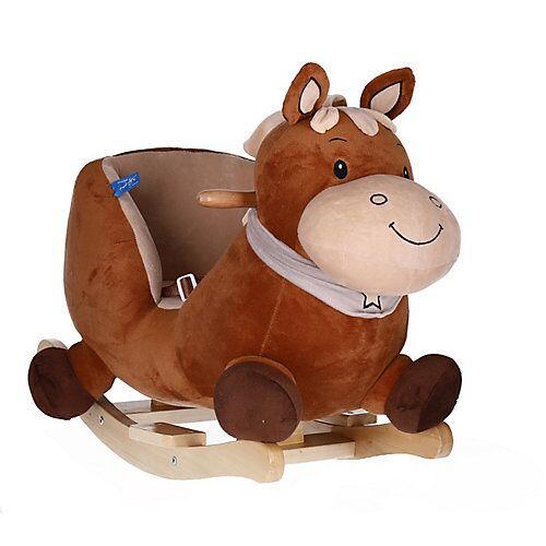 Schaukelpferd Plüsch Pferd Schaukeltier 60 cm Baby Wippe Holz Spielzeug ab 9M braun