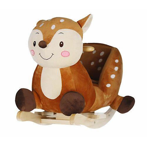 Schaukelpferd Plüsch Schaukeltier Pferd 60 cm Reh Baby Wippe Spielzeug ab 9 M braun