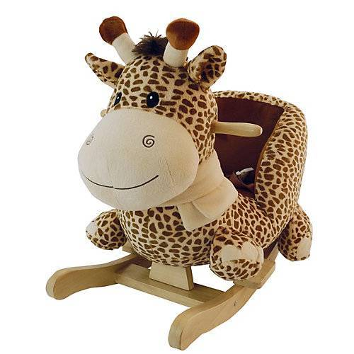 Schaukelpferd Plüsch Giraffe Schaukeltier 70 cm Baby Wippe Holz Spielzeug ab 9M beige