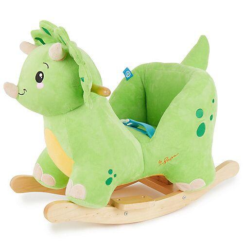 Schaukelpferd Plüsch Dino Schaukeltier 60 cm Baby Wippe Holz Spielzeug ab 9M grün