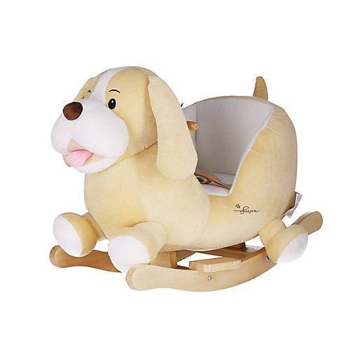 Schaukelpferd Plüsch Hund Sam Schaukeltier 60 cm Baby Wippe Holz Spielzeug ab 9M beige