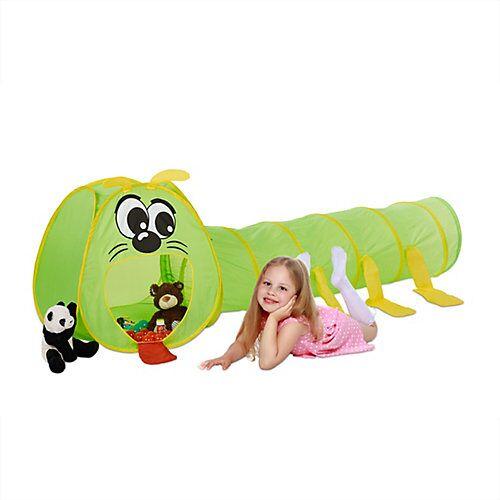 relaxdays Kinder Krabbeltunnel Raupe grün