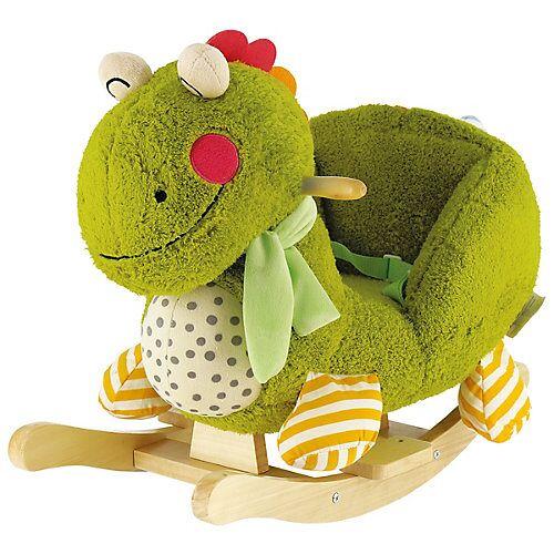 Schaukelpferd Plüsch Dino Max Schaukeltier 60 cm Baby Wippe Holz Spielzeug ab 9M grün