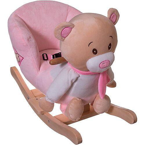Schaukelpferd Plüsch Bär Schaukeltier 60 cm Baby Wippe Holz Spielzeug ab 9M rosa