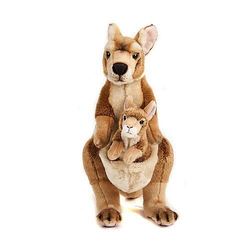 UNI-TOYS® Känguru Mama mit Baby - 45 cm (Höhe) - Plüsch-Wildtier, Plüschtier Kuscheltiere braun
