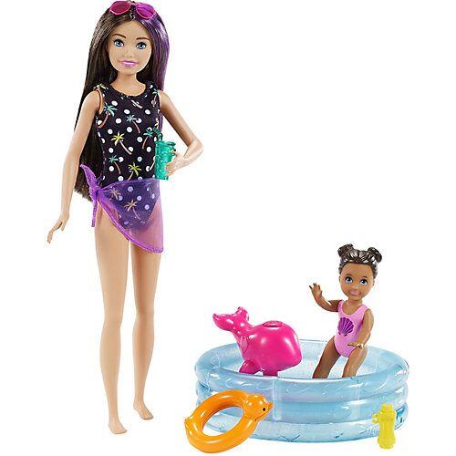 Mattel Barbie Skipper Babysitter Puppe, Spielset mit Baby-Puppe und Pool