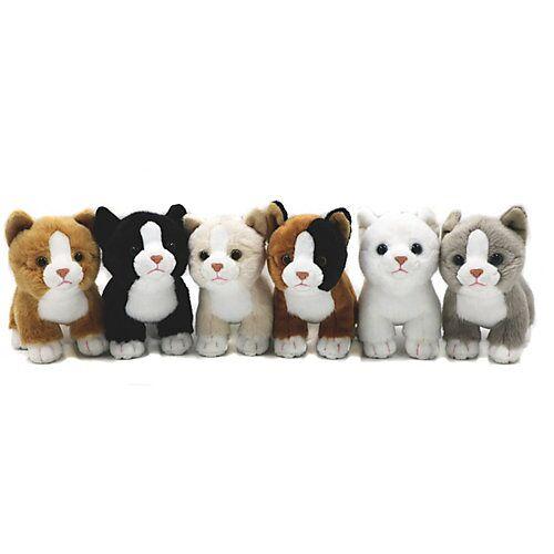 UNI-TOYS® Katzen-Babys (6-teilig) - je 14 cm (Länge) - Plüsch-Katzen, Plüschtiere Kuscheltiere schwarz/braun