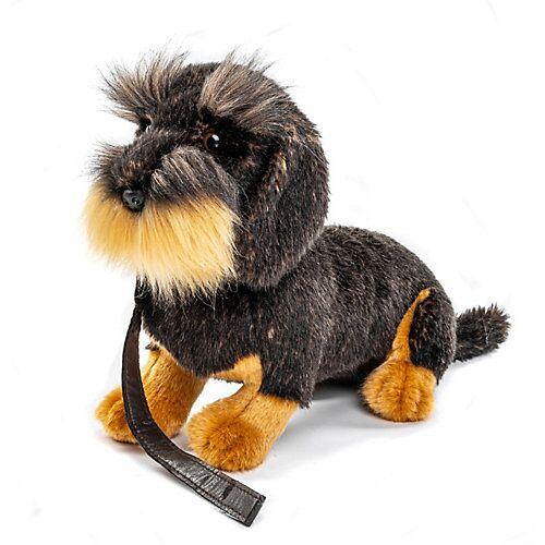 UNI-TOYS® Rauhaardackel mit Leine, sitzend -  30 cm (Länge) - Plüsch-Hund, Dackel, Plüschtier Kuscheltiere braun/schwarz