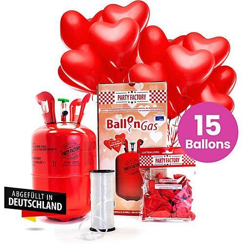 Ballongas Helium 30er mit 15 Herzballons