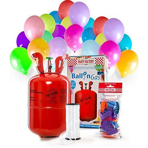 Ballongas Helium 30 Ballons mit 30 Latex-Ballons und 100m Schnur  Kinder
