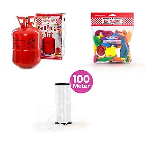 Ballongas Helium 50 Ballons mit 50 Latex-Ballons und 100m Schnur  Kinder