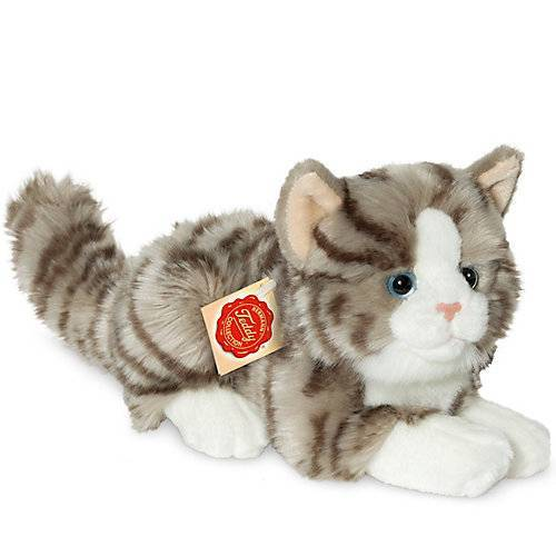 Teddy-Hermann Katze liegend grau 20 cm