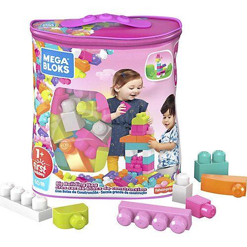 Mattel Mega Bloks Bausteine-Beutel pink (60 Teile), Steck-Bausteine Kinder, Bauklötze