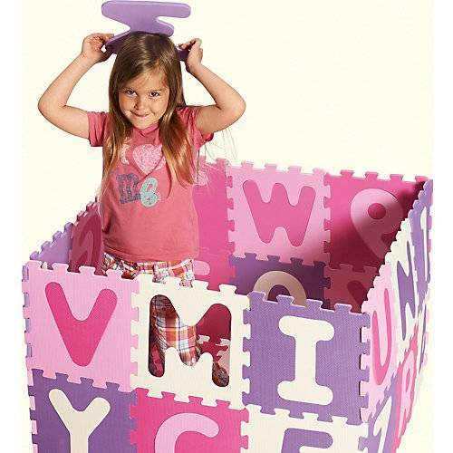 Playshoes Puzzlematte pink, 36-teilig