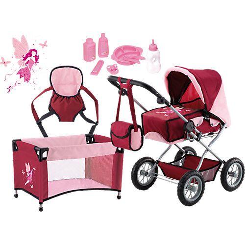 BAYER Kombi-Puppenwagen und Komplett-Set bordeaux die Babypuppe  Kleinkinder
