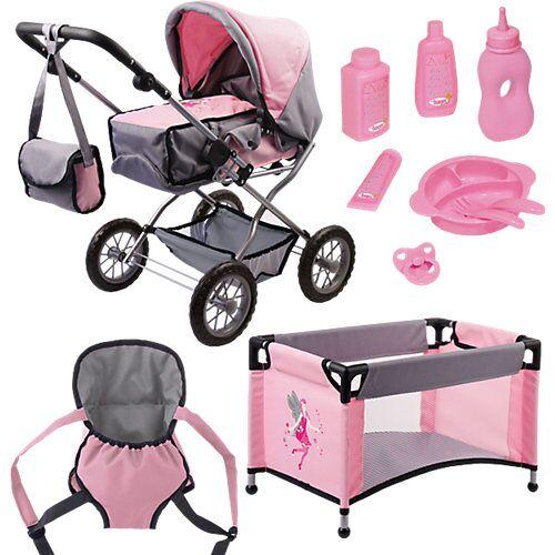 BAYER Kombi-Puppenwagen und Komplett-Set die Babypuppe  Kleinkinder