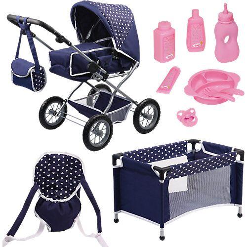BAYER Kombi-Puppenwagen und Komplett-Set blau die Babypuppe  Kleinkinder