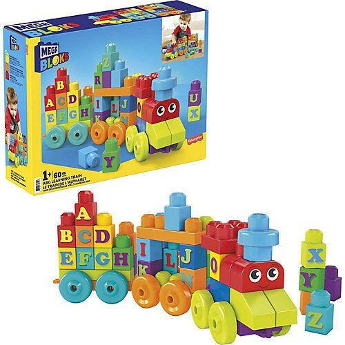 Mattel Mega Bloks ABC Lernzug (60 Teile), Steck-Bausteine, Bauklötze, Lernspielzeug